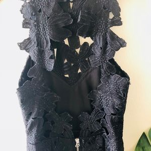 Saylor black floral overlay cocktail dress
